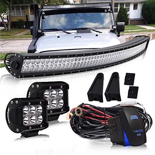 QuakeWorld 52″ Curved LED Light Bar 300W Flood Spot Combo Beam Led Bar W/ 2Pcs 4in Off Road Driving Fog Lights with Wiring Harness Rocker Switch for Jeep Trucks Polaris ATV Boats Lighting