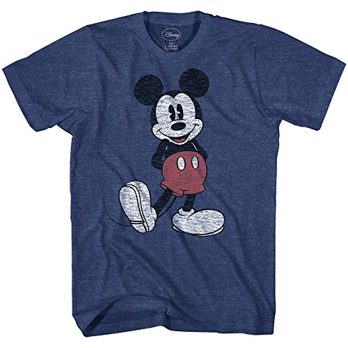Disney Mickey Mouse Classic Standing Pose T-Shirt (Medium, Heather Navy) Disney Clothes