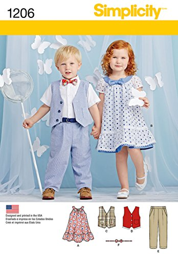 Simplicity Creative Patterns 1206 Toddlers' Pants, Vest, Dress, Bow-Tie and Belt, A (1/2-1-2-3-4)
