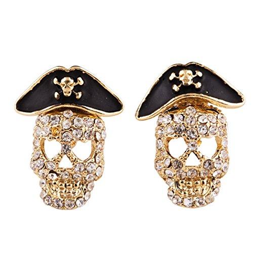 EVBEA Women Jewelry Punk Rock Skull Stud Earrings Rhinestone Gothic Pirate Earrings (Yellow)