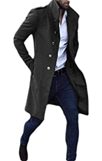 WAWAYA Mens Stand Collar Zip Up Pure Color Warm Wool Blended Trench Pea Coat Outwear