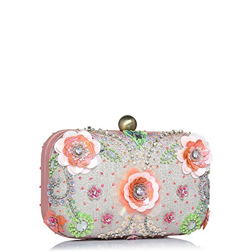 Clutches for Women box frame embroidered Pink Yellow floral -
