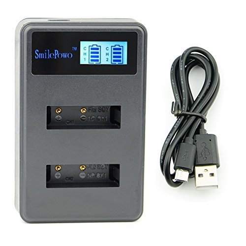 SmilePowo World Travel Charger LED Display USB Dual Battery Charger for Sony NP-BX1, NP-BX1/M8 and Sony Cyber-Shot DSC-HX50V, DSC-HX300, DSC-HX400,DSC-RX1, DSC-RX1R, DSC-RX100