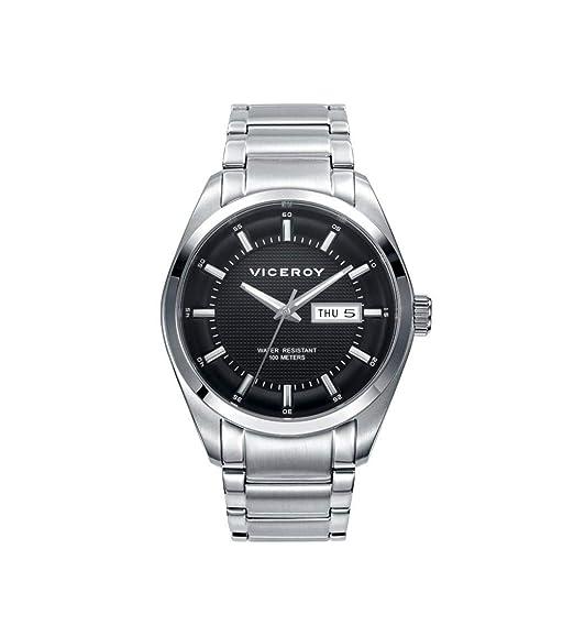 Viceroy 471003-57 Reloj de Hombre Cuarzo Acero Brazalete Esfera Negra Tamaño 40 mm: Amazon.es: Relojes