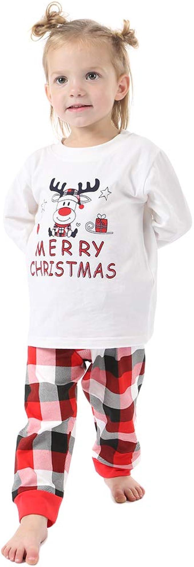 Weixinbuy Family Pajamas Christmas Santa Sleepwear Pjs Matching Clothes for Men Women Kids Toddler Baby Boys Girls