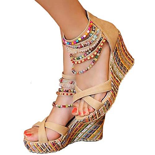 getmorebeauty Women's Wedge Pearls Across The Top Platform High Heels 5 B(M) US ()