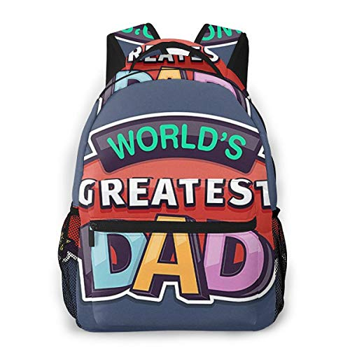 Fashion Leisure Backpack for Girls and Boys, College Student School Laptop Daypack Teen Lightweight Casual Bookbags, High Capacity Travel Bag - World's Greatest Dad Father's Day