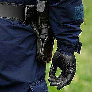 Black Nitrile Disposable Gloves - worn