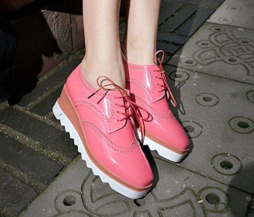 Latasa Femmes Lacets Compensées Oxford Chaussures Rouge Pastèque