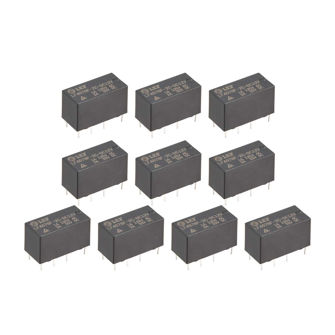 uxcell 10Pcs DC 12V Coil DPDT 2NO+2NC 8P Power Electromagnetic Relay DIN Rail/PCB Mounted 125VAC 1A /30VDC 2A