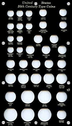 "Capital Plastics 8"" x 14"" Acrylic screw holder United States 20th Century Type Coins 37-Coin Holder - Black"