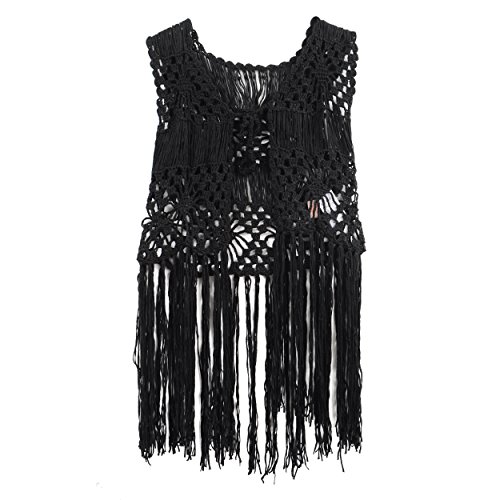 Acemi Sleeveless Lace Suit Swim Crochet Long Fringe Vest Bikini 70s Cover Up Hippie Clothes for Women Free Size -