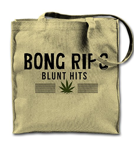 Price comparison product image Bong Rips Blunt Hits Funny Weed Natural Canvas Tote Bag,  Cloth Shopping Shoulder Bag