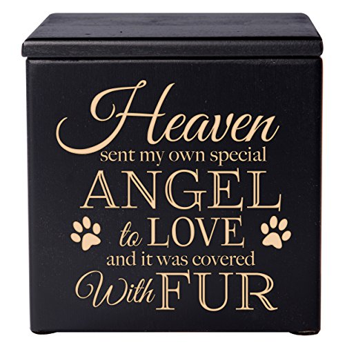 Cremation Urns for Pets, SMALL Memorial Keepsake box for Dogs and Cats, Urn for pet ashes Heaven sent my own special angel to love & it was covered in fur Holds SMALL portion of ashes (Black Maple)