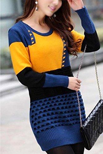 SODIAL (R)Femme Pull Chemisier de ras du cou Chemisier a manches longues bleu saphir + jaune
