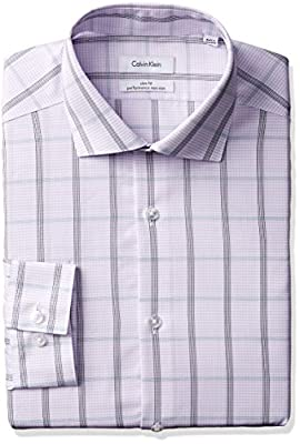 Calvin Klein Men's Non Iron Slim Fit Large Check Spread Collar Dress Shirt
