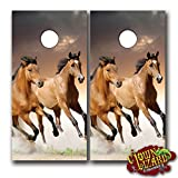 CL0034 Wild Horses Running CORNHOLE LAMINATED DECAL WRAP SET Decals Board Boards Vinyl Sticker Stickers Bean Bag Game Wraps Vinyl Graphic Image Corn Hole 911