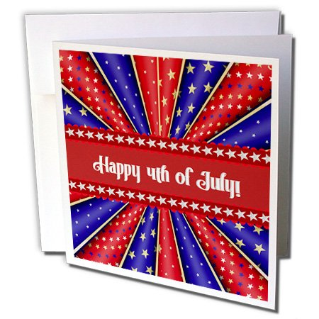 3dRose Kaleidoscope Of Stars and Stripes, Happy 4Th Of July, Red, Blue, White - Greeting Card, 6