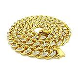 Hip Hop Brass Heavy Gold Color Plated Cubic Zirconia Stone 8.5'' Bracelet, 30'' Necklace (19mm 30'' Necklace)