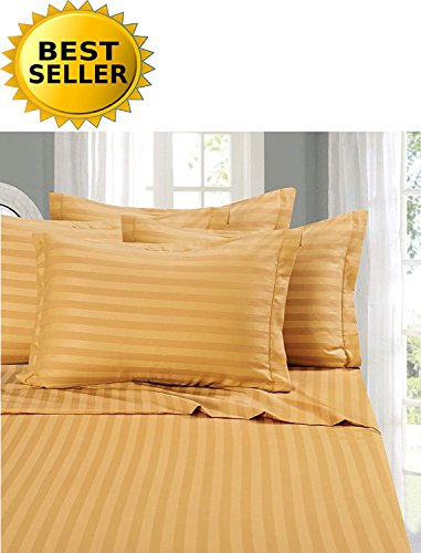 Gold Stripe Bed - Elegant Comfort #1 Bed Sheet Set on Amazon - Super Silky Soft - 1500 Thread Count Egyptian Quality Luxurious Wrinkle, Fade, Stain Resistant 6-Piece STRIPE Bed Sheet Set, Queen Gold