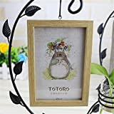 Style Wood Hanging Photo Frame Micro-landscape Multifunction Creative Hydroponic Bottls Living Room Decor Glass Retro Vase Kangsanli (yellow)