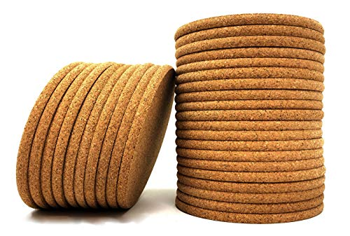 Cork Coasters - Round Blank Cork Drink Coasters 4 Inches with Rounded Edges - 1/4 Inch Thick - Pack of 30 - Coasters For Drinks, DIY Crafts, Plants, Party and Wedding Favors -