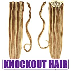 """Human Hair Ponytail Extension Wrap 20"""" 100% Real Remy Premium Grade AAAAA 80 Grams Long Straight Human Hair Silky Soft by Knockout Hair (#07A/24 Light Natural Brown/Golden Ash Blonde Mix)"""
