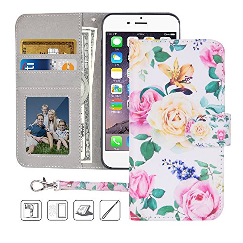 - iPhone 6S Wallet Case,iPhone 6 Wallet Case,MagicSky Premium PU Leather Flip Folio Case Cover with Wrist Strap,Card Slots,Cash Pocket,Kickstand for Apple iPhone 6S/iPhone 6 4.7 inch (Flower)