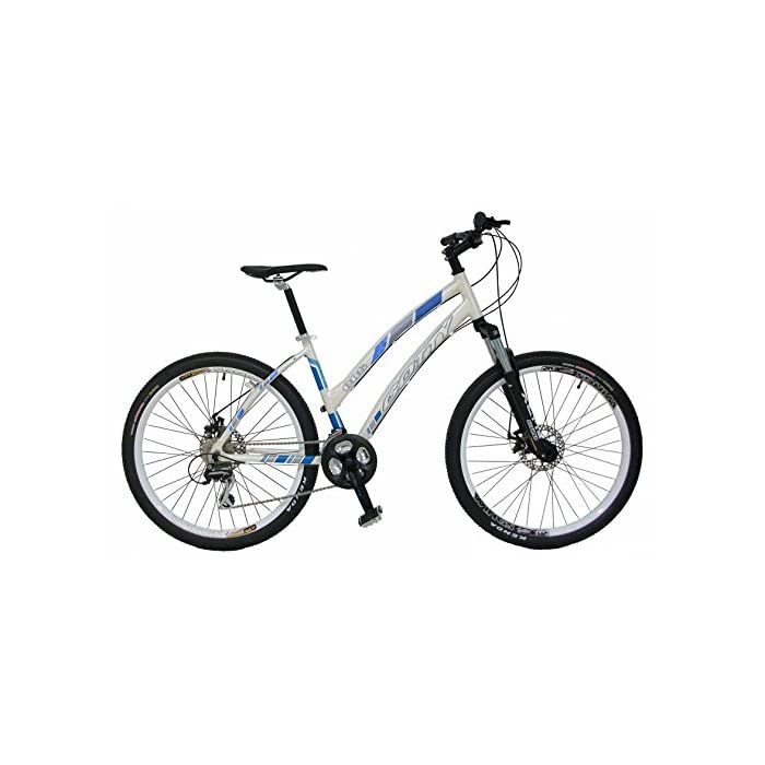 Bicicleta de montaña MTB mujer Gotty CRS, aluminio 26″, con suspensión de aluminio con bloqueo, cambio de 21 velocidades y frenos de disco. (Blanco)