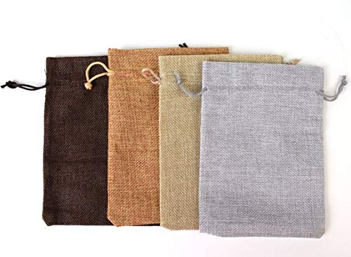 Drawstring Burlap Bags 7x5 in. Packing Pouches 9 Colors Wedding Bracelet Pouch