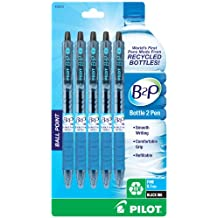 Pilot B2P - Bottle to Pen - Retractable Ball Point Pens Made from Recycled Bottles, 5 Pen Pack, Fine Point, Black (32612)