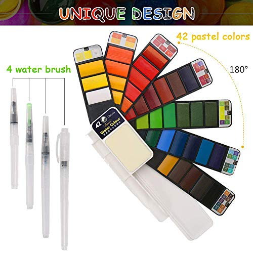 (BBLIKE Watercolor Paint Set, 42 Assorted Colors with 4 Variety Brushes, Portable Travel Pocket Watercolor Field Sketch Set Watercolor Pigment, Perfect for Artist Students Draw Painting Outdoor)