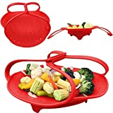 Silicone Steam Steamer for Healthier Nutrition Veggies Vegetable with handles and fruit basket (Main Red)