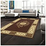 Superior Elegant Medallion Collection 8' x 10' Area Rug, Attractive Rug with Jute Backing, Durable and Beautiful Woven Structure, Floral Medallion Rug with Broad Border - Toffee