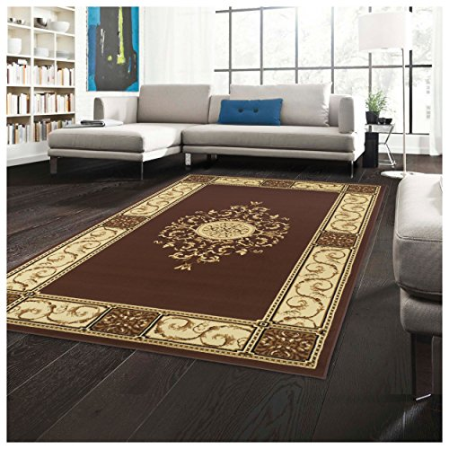 (Superior Elegant Medallion Collection 8' x 10' Area Rug, Attractive Rug with Jute Backing, Durable and Beautiful Woven Structure, Floral Medallion Rug with Broad Border - Toffee)