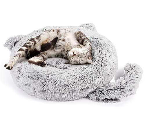 Pecute Cat Bed & Dog Bed, Warming Soft Machine Washable Plush Round Cuddler Cat Bed, Calming Donut Dog Bed, Anti-Slip…