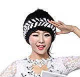 Easting Popular Women Winter Cap Knitted Mink Fur Hat New Style with Fox Fur Top (Black&White)