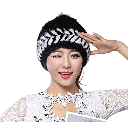 Easting Popular Women Winter Cap Knitted Mink Fur Hat New Style with Fox Fur Top (New Mink Fur Headband)