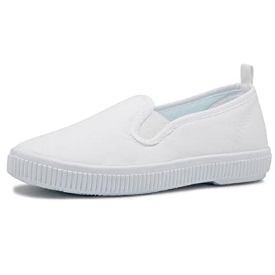 Bumud Kids Boy's Girl's Slip on White Canvas Shoe Uniform Sneaker(Toddler/Little Kid)