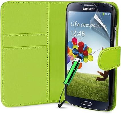Funda de Cuero Piel para Smartphone Samsung Galaxy S4 mini (I9190) . Diseño Billetera en Color Lima