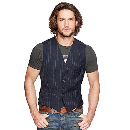 Ralph Lauren Wool Vest (Polo Ralph Lauren Denim & Supply Mens Wool Pinstripe Fit Vest Navy Large)
