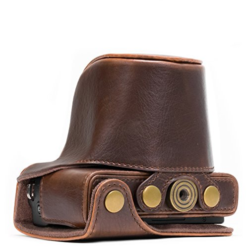 MegaGear MG667 Ever Ready Leather Camera Case Compatible with Canon EOS M10 - Dark Brown