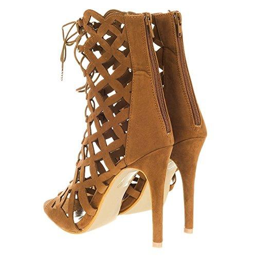 Shoes Suedette Miss Peep Woman Tan toe Diva p55On4F6