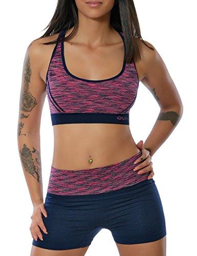 Damen Yoga Sport-Set Fitness Push-Up BH mit Hot-Pants (weitere Farben) No 13889, Farbe:Navy;Größe:L / XL