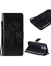 """Cestor PU Leather Wallet Case for iPhone 13 Pro 6.1"""",Magnetic Cute Embossed Tree Cat Butterfly Pattern Strap Shockproof Stand Flip Cover with Card Holder for iPhone 13 Pro 6.1"""",Black"""