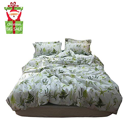 (XUKEJU Reversible Print Green Tree Duvet Quilt Cover Boys Girls 100% Cotton Soft Breathable 3pc Bedding Set Full Queen Size)