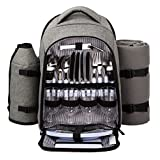 HapTim Durable Picnic Backpack for 4 Person With Cutlery Set -(Gray)