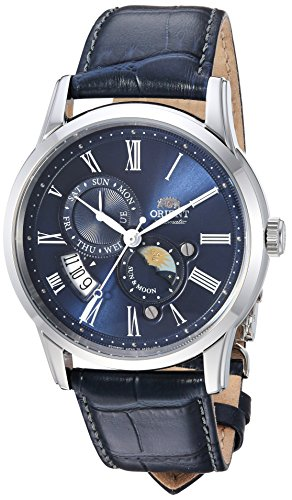 - Orient Men's 'Sun and Moon Version 3' Japanese Automatic Stainless Steel and Leather Casual Watch, Color Blue (Model: FAK00005D0)