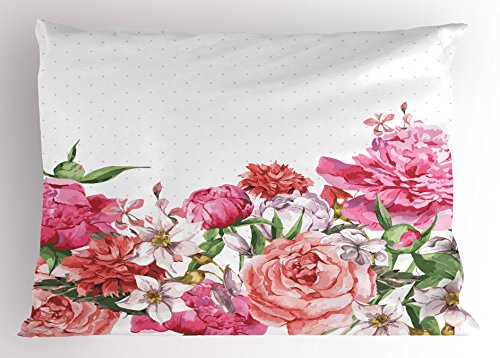Ambesonne Floral Pillow Sham by, Blooms Bouquet Botany Rose Peony Wild Lily Love Watercolor Art, Decorative Standard Queen Size Printed Pillowcase, 30 X 20 Inches, Hot Pink Dark Coral Hunter Creen (Bloom Pillow Sham)
