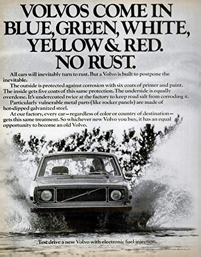 - 1971 VOLVO 140 SERIES * Volvos come in blue, green, white, yellow & red. No rust. * LARGE VINTAGE NON-COLOR AD USA - NICE ORIGINAL !!